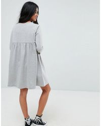 ASOS - Gray Ultimate Smock Dress With Long Sleeve - Lyst