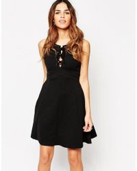 ASOS | Black Textured Skater Dress With Lace Up Front | Lyst
