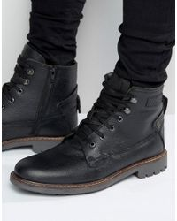 Firetrap | Black Lace Up Military Boots for Men | Lyst