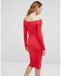 ASOS - Red Petite Bardot Dress With Long Sleeve - Lyst