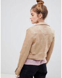 Pull&Bear - Natural Suedette Biker Jacket - Lyst