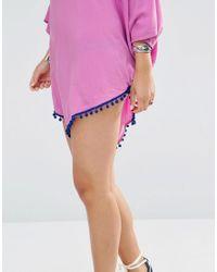 Gypsy 05 - Purple Tie Dye V Poncho With Pompom Trim - Lyst
