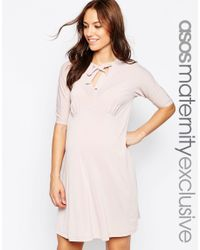 ASOS - Pink Maternity Swing Dress With Pussy Bow - Lyst