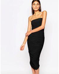 Club L | Black Bandeau Midi Pencil Dress | Lyst