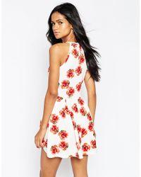 AX Paris - Multicolor Halterneck Cami Dress In Rose Print - Cream - Lyst