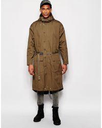 ASOS   Green Extreme Longline Parka Jacket In Khaki for Men   Lyst