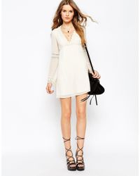 ASOS - Natural Skater Dress With Lace Inserts And Fluted Sleeve - Lyst