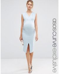 ASOS - Blue Midi Bodycon Dress With Ruching And Split - Lyst