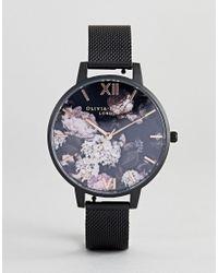 0bc85b3c55cb Olivia Burton Ob16ad35 Signature Floral Mesh Watch In Black in Black ...