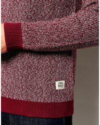 Jack & Jones - Purple Crew Neck Jumper With Twisted Yarns for Men - Lyst