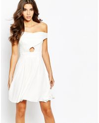 Love | Natural Off Shoulder Wrap Front Skater Dress With Box Pleat Skirt | Lyst