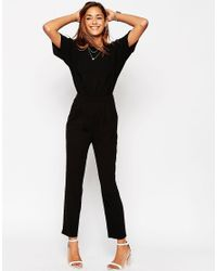 ASOS - Black Jumpsuit In Crepe With Open Back And D-ring - Lyst