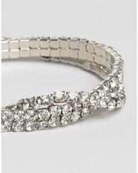 ASOS - Metallic Pack Of 2 Crystal Stretch Arm Cuffs - Lyst