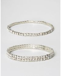 ASOS - Metallic Pack Of 2 Crystal Stretch Arm Cuffs - Lyst