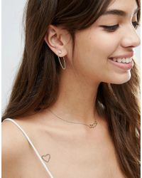 ASOS - Multicolor Chain Front And Back Earrings - Lyst