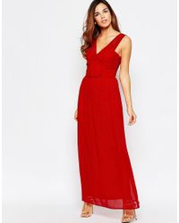 Elise Ryan   Red Ruched Maxi Dress With Open Lace Back Detail   Lyst