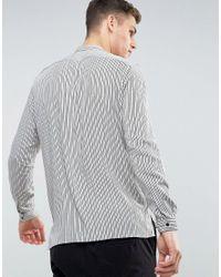 Mango - Man Regular Fit Striped Shirt In Gray for Men - Lyst