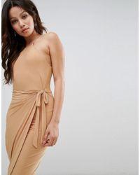 Club L - Brown High Neck Wrap Front Slinky Midi Dress - Lyst