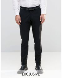 Only & Sons | Black Skinny Smart Pants With Stretch And Turn Up for Men | Lyst