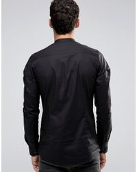 Only & Sons - Black Skinny Shirt With Grandad Collar for Men - Lyst