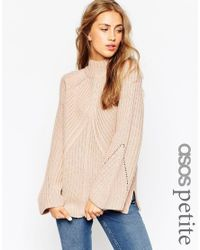 ASOS - Black Petite Chunky Jumper With High Neck And Moving Rib - Lyst