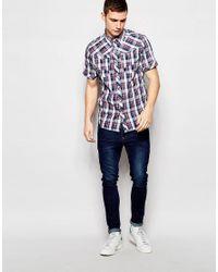 G-Star RAW | Shirt Arc 3d Short Sleeve Western Blue Check for Men | Lyst