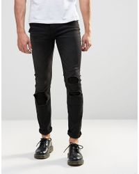 Cheap Monday - Tight Skinny Jeans Forever Black Distress Repair for Men - Lyst