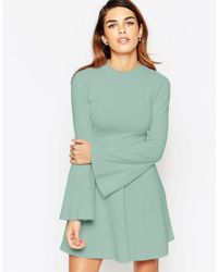 ASOS - Natural Babydoll Dress With High Neck And Flared Sleeves - Lyst