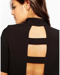 ASOS   Black High Neck Tunic With Open Back   Lyst