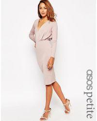 ASOS   Pink Petite Jersey Crepe Deep Plunge Midi Dress   Lyst