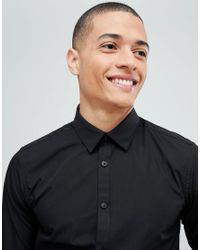 New Look - Poplin Shirt In Regular Fit In Black for Men - Lyst