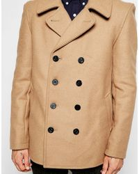 Gloverall | Brown Peacoat In Wool for Men | Lyst