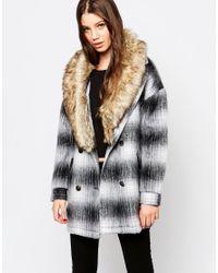 Bellfield | Black Check Jacket With Faux Fur Trim | Lyst