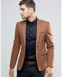 ASOS Brown Super Skinny Blazer In Tan Cotton for men