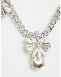 Warehouse - Metallic Floral Stone Collar Necklace - Lyst