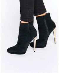 Faith - Black Solo Felix Gold Heeled Ankle Boots - Lyst