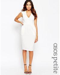 ASOS | White Petite Sleeveless Textured Wiggle Dress | Lyst