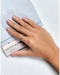 ASOS - Metallic Sleek Stone Kiss Ring - Lyst