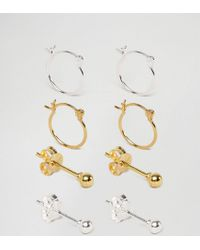 ASOS - Metallic Sterling Silver Hoop And Stud Earring Pack In Mixed Plating - Lyst