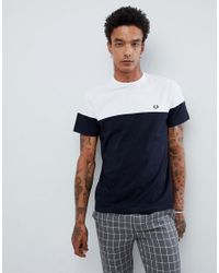 3237df7a6 Fred Perry Logo Panelled T-shirt In Navy white in Blue for Men - Lyst