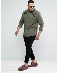 ASOS | Green Plus Regular Fit Western Denim Shirt With Embroidery for Men | Lyst