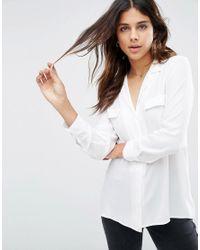 ASOS - White Clean Pyjama Blouse With Pocket Detail - Lyst