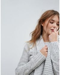 New Look Gray Cable Knit Cardigan