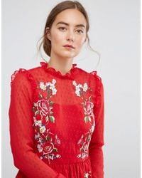 ASOS - Pretty Embroidered Mini Skater Dress On Dobby - Lyst