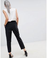 ASOS - Black Elasticated Clean Tapered Trouser - Lyst