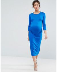 Bluebelle Maternity - Blue Bodycon Dress With 3/4 Sleeve - Lyst
