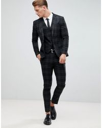 Only & Sons - Black Skinny Suit Trousers In Check for Men - Lyst