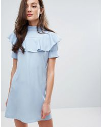 Fashion Union - Blue Frill Front Shift Dress - Lyst