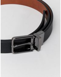 ASOS - Faux Leather Skinny Reversible Belt In Black Saffiano And Tan for Men - Lyst