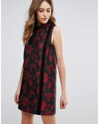 French Connection - Red Fast Betty Brocade Mock Neck Shift Dress - Lyst